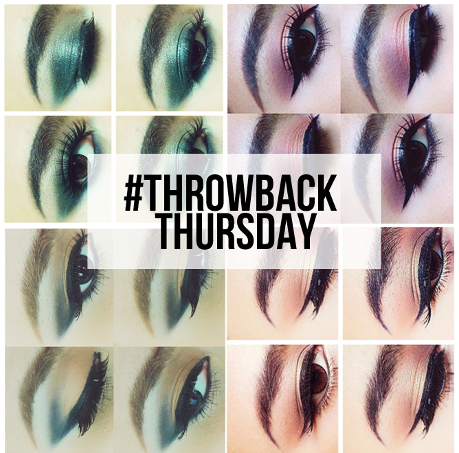 This image shows a collage of eye makeup looks for throwback thursday.