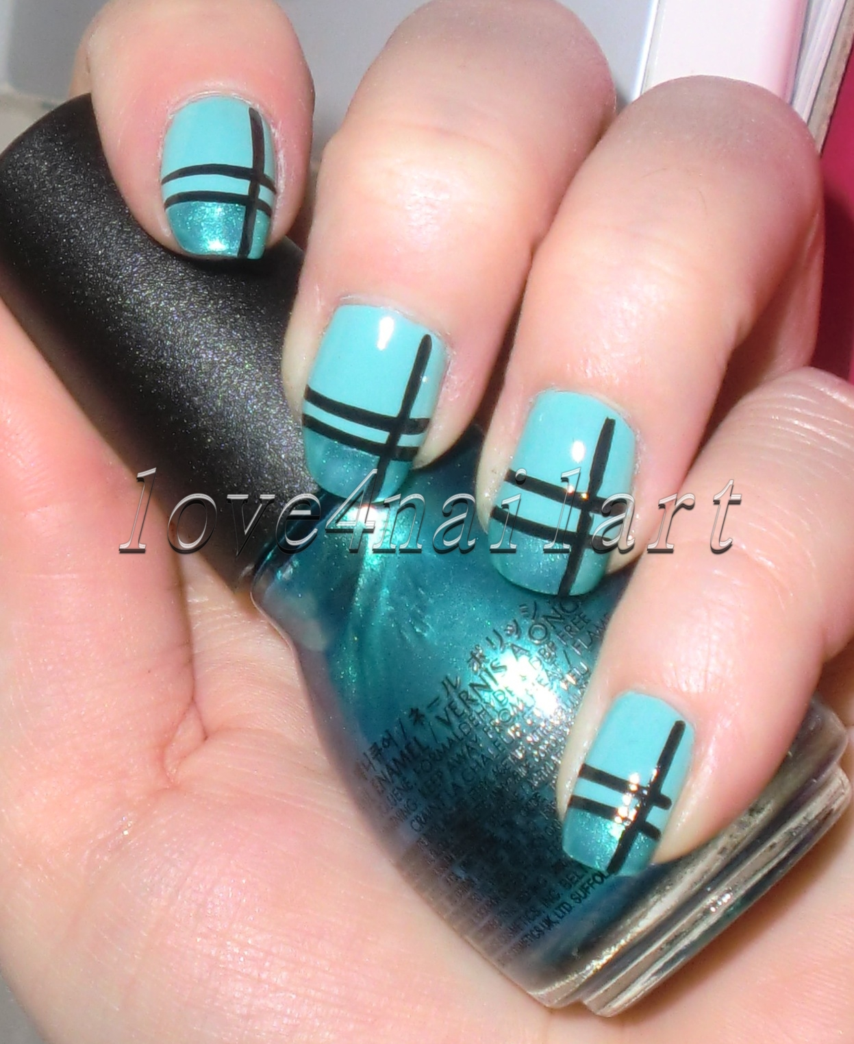 Love4NailArt: Striped Turquoise Nail Art Tutorial 4 Beginners