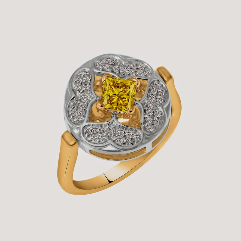 Galium Yellow Ring in 18k white Gold