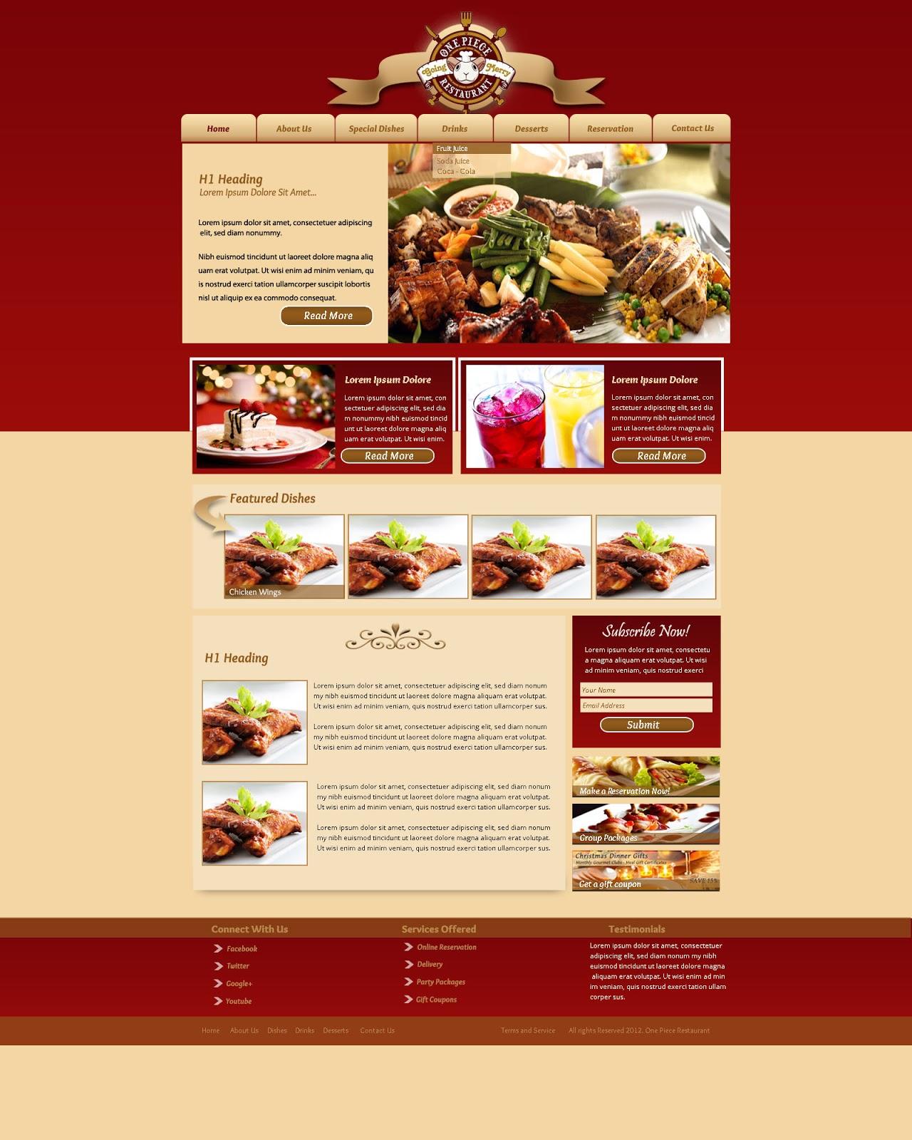 Website templates design restaurant web template