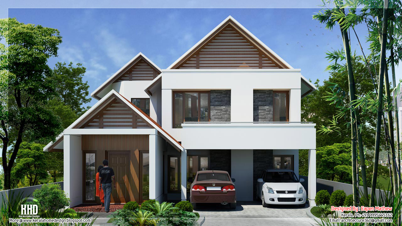 villa 02 - 23+ Modern Small House Plans With Photos In Kerala  PNG