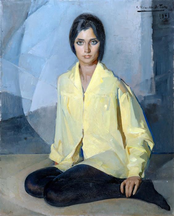 Retrato con camisa amarilla, Félix Revello de Toro, Pintor español, Retratos de Félix Revello de Toro