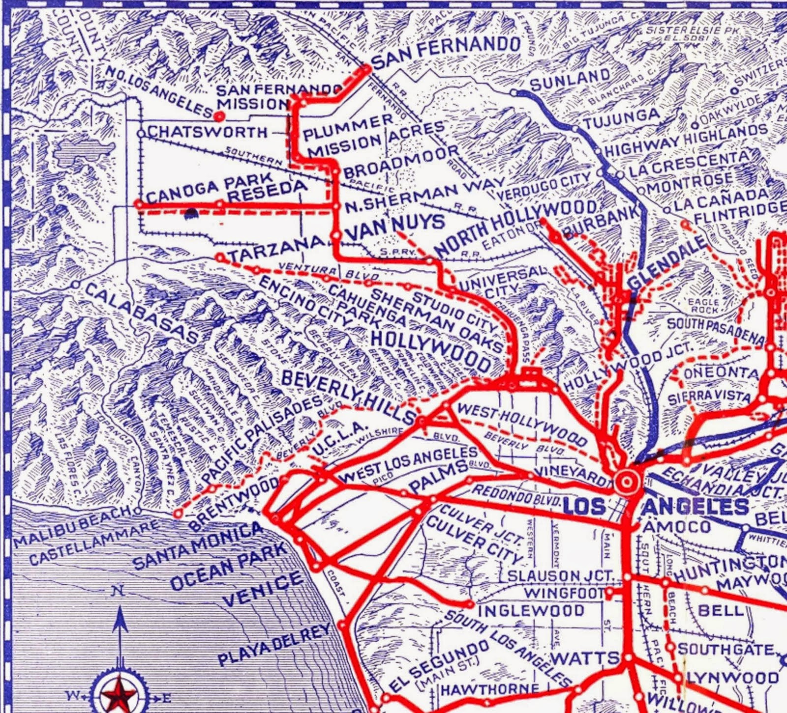 Transit History In Los Angeles A  Map Of The Citys Streetcar - Los angeles map culver city