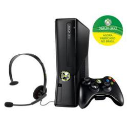 Console Microsoft Xbox 360 Preto Fosco com 250GB de Memória + Controle sem Fio e Headset