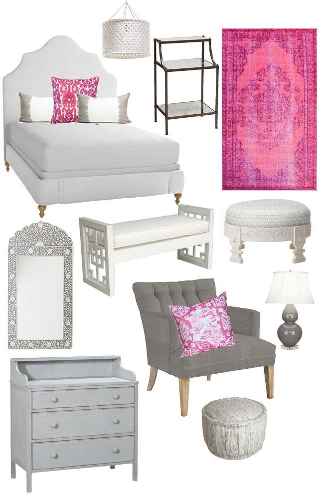 Bedroom furniture from C. Wonder, Furbish, and Pottery Barn.