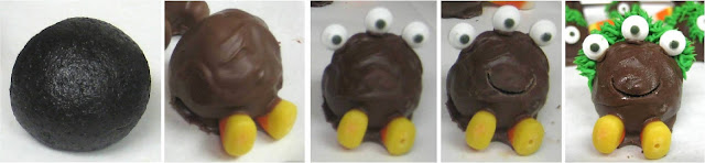 Halloween Little Monster Cake Balls - Progression Shots of Chocolate Dipped Monster
