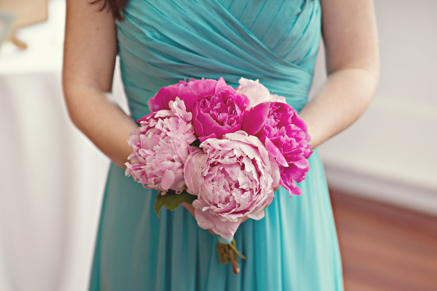 dark and light pink peonies, bill levkoff bridesmaid gown