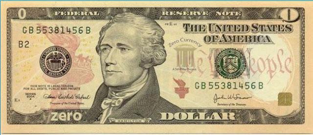 фото Банкнота ноль американских долларов zero dollar