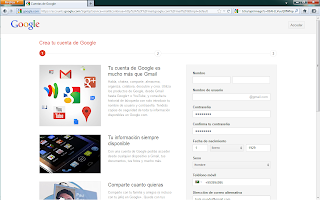 Crear cuenta Gmail - paso 1
