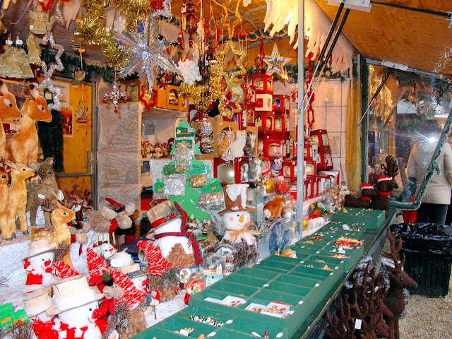 Just one of the many vibrant market chalets brimming with holiday gifts.
