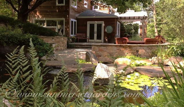 Backyard Retreats Patios And Ponds : Garden Design A NY Patio and Koi Pond Design