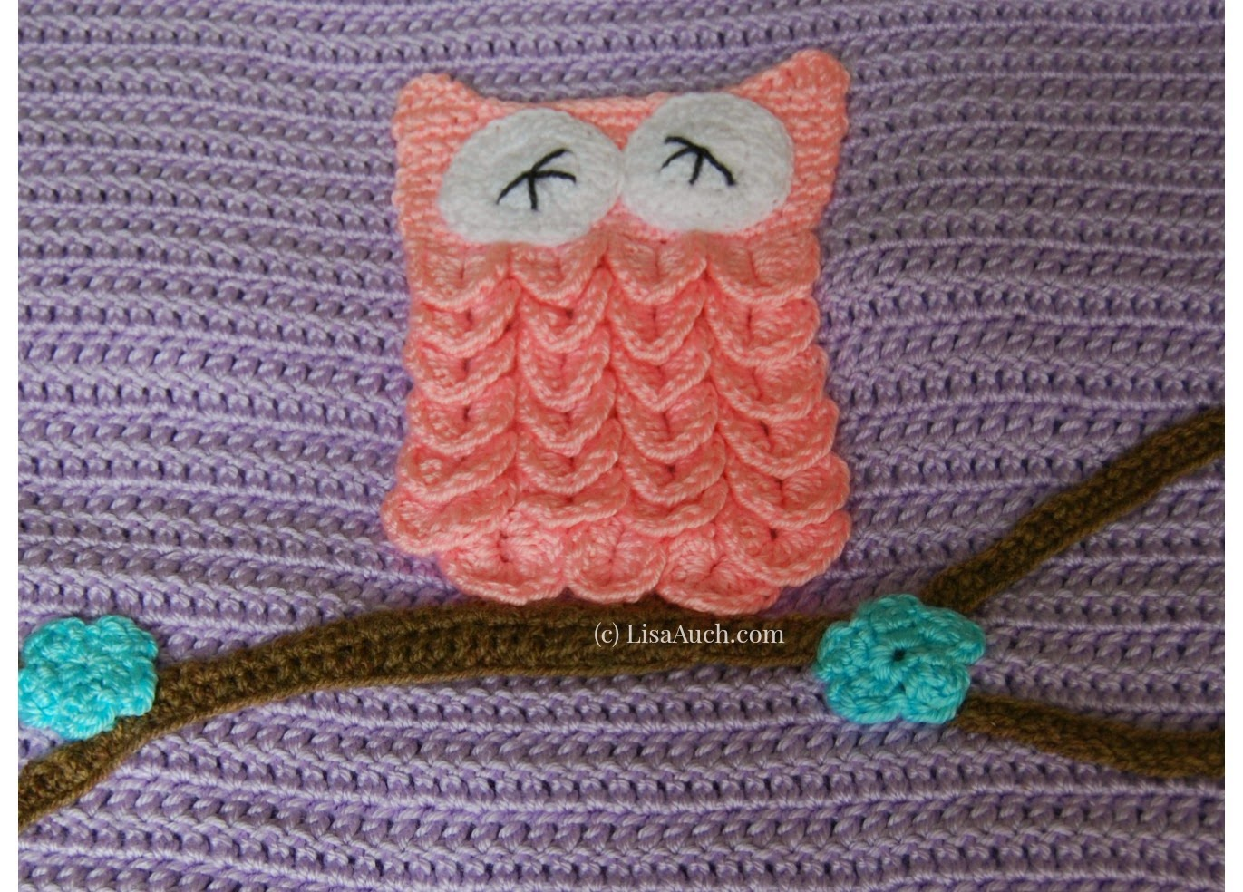 Free Crochet Pattern Easy Baby Blanket (With Optional Owl Applique ...