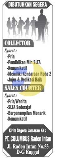 Karir Lampung di PT. Columbus Januari 2015