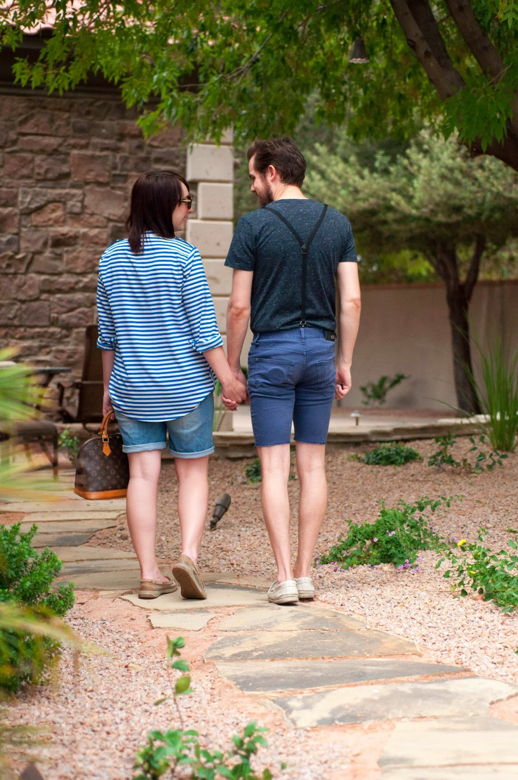 couples, couples fashion, kelseybang.com, calvin klein, stripes, suspenders, calvin klein striped shirt, sperry topsider, matching shoes