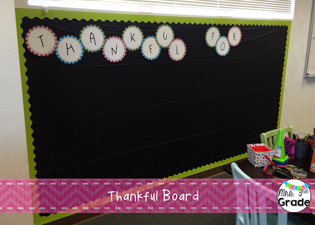 Thankful board for students to record things they are thankful for!