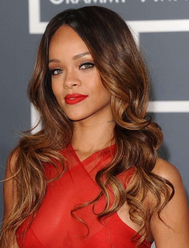 Rihanna at the 2013 Grammy Awards in LA