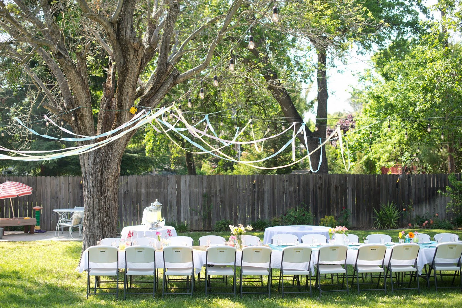 I Hung Up Crepe Streamers Received From PartyPail Along Our Outdoor Lights Something About Hanging Makes An Event Feel More Like A Party
