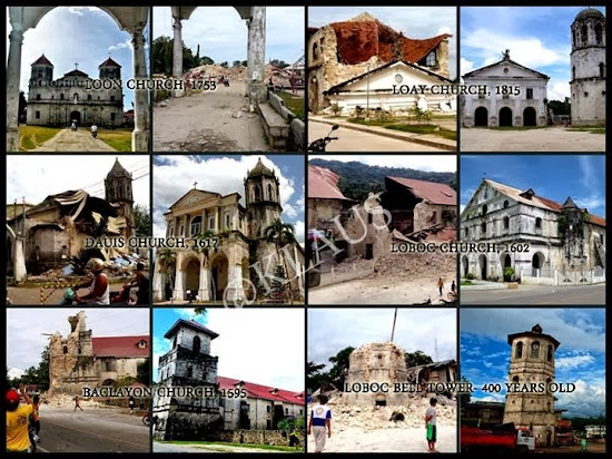 Churches in Bohol damaged by the October 2013 earthquake