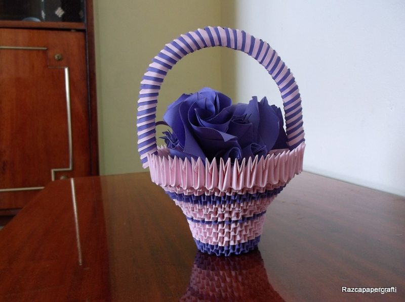 Razcapapercraft origami 3d basket with flowers 2 origami 3d basket with flower mightylinksfo