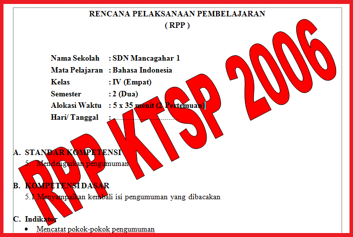 Download Rpp Ktsp Sd Mi Kelas 1 6 Lengkap Sdn Mancagahar 1