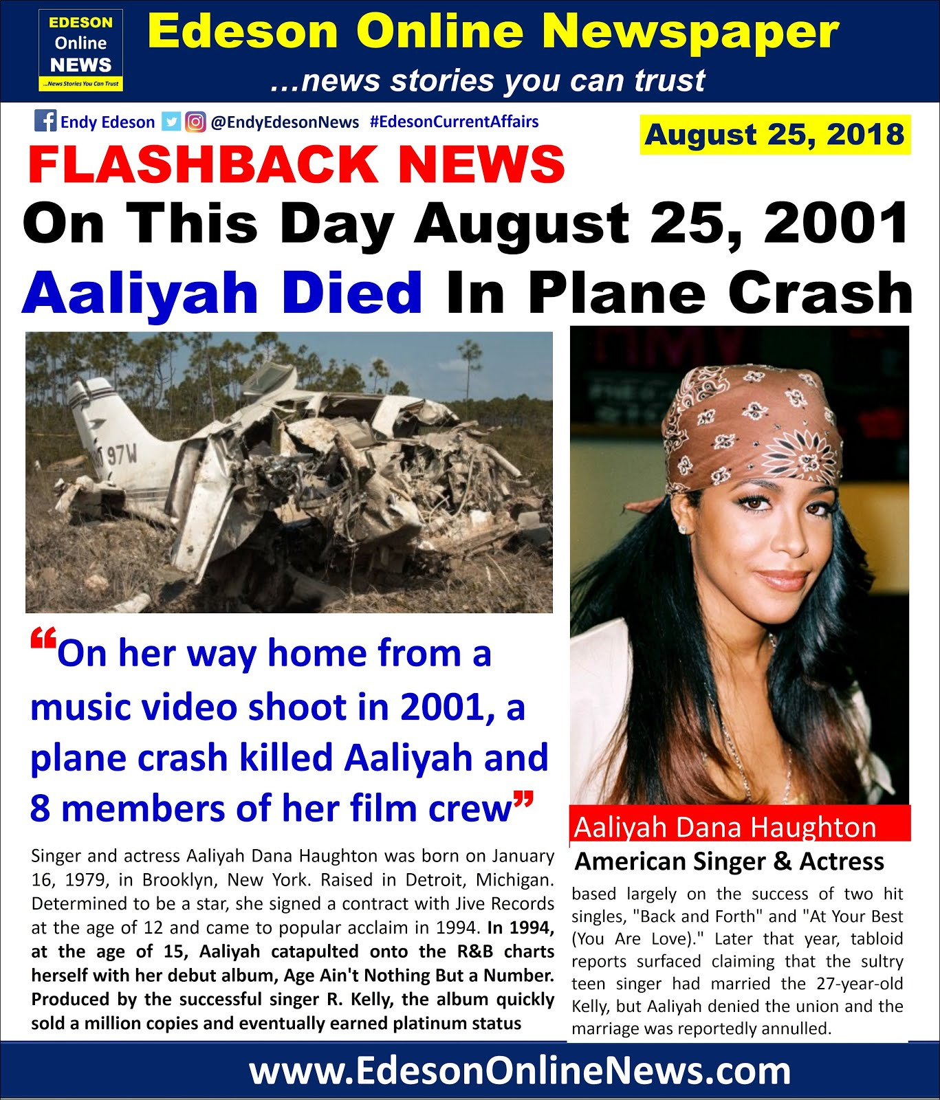 August 25 2001 -16 Years Ago Singer Aaliyah Was Killed in ...