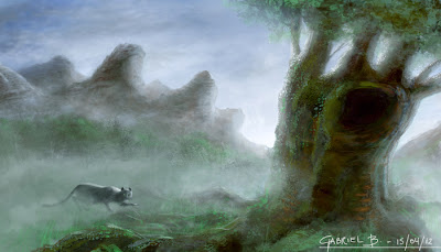 A grey cat walks towards a big tree during a spring morning, a thing fog covers the whole ground while, in the back, the mountains can be seen emerging from the mist