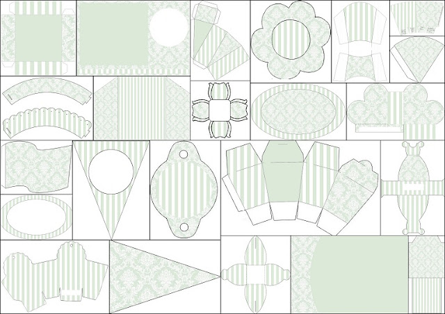 Free Printable Kit with White Damasks in Greenish Gray.