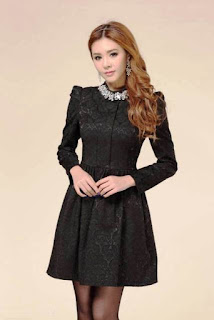 Model Dress Cantik Lengan Panjang Anak Remaja Warna Hitam Elegan