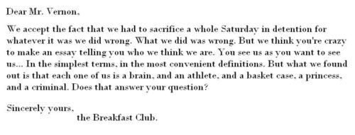 breakfast club essay quote