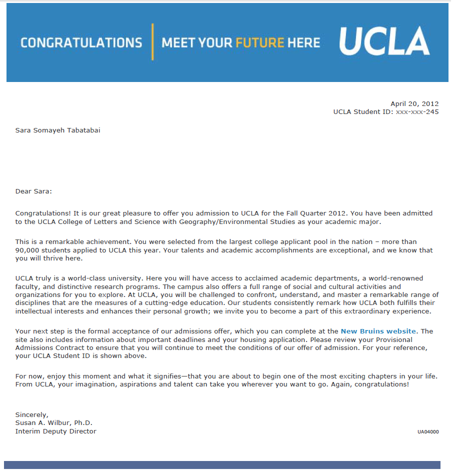 Ucla Medical School Acceptance Letter  Olivero
