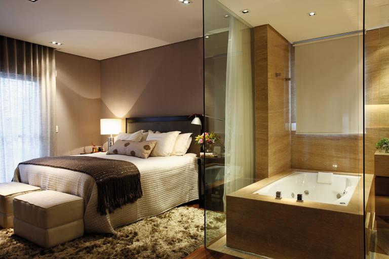 DECORA INTERI Banheiros integrados aos Quartos -> Quarto Com Banheiro Integrado Simples