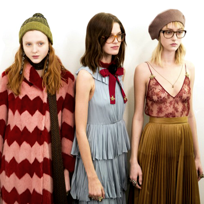 Gucci models at Fall/Winter 2015 are ready to capture the geek chic trend.