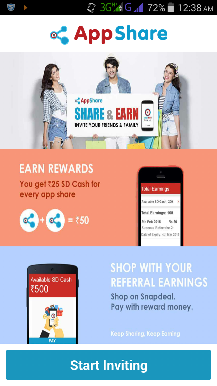 Snapdeal Appshare offer