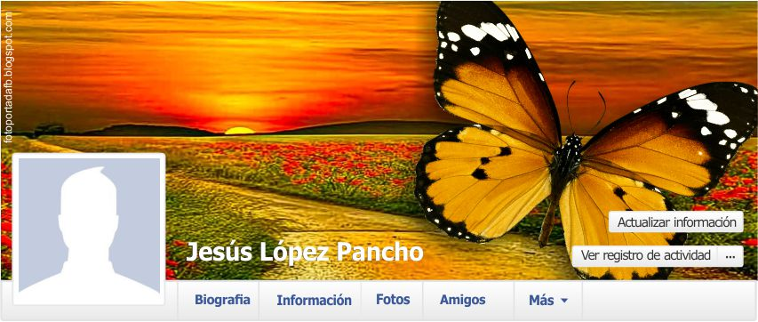 portada para facebook como tema campo de flores con mariposa