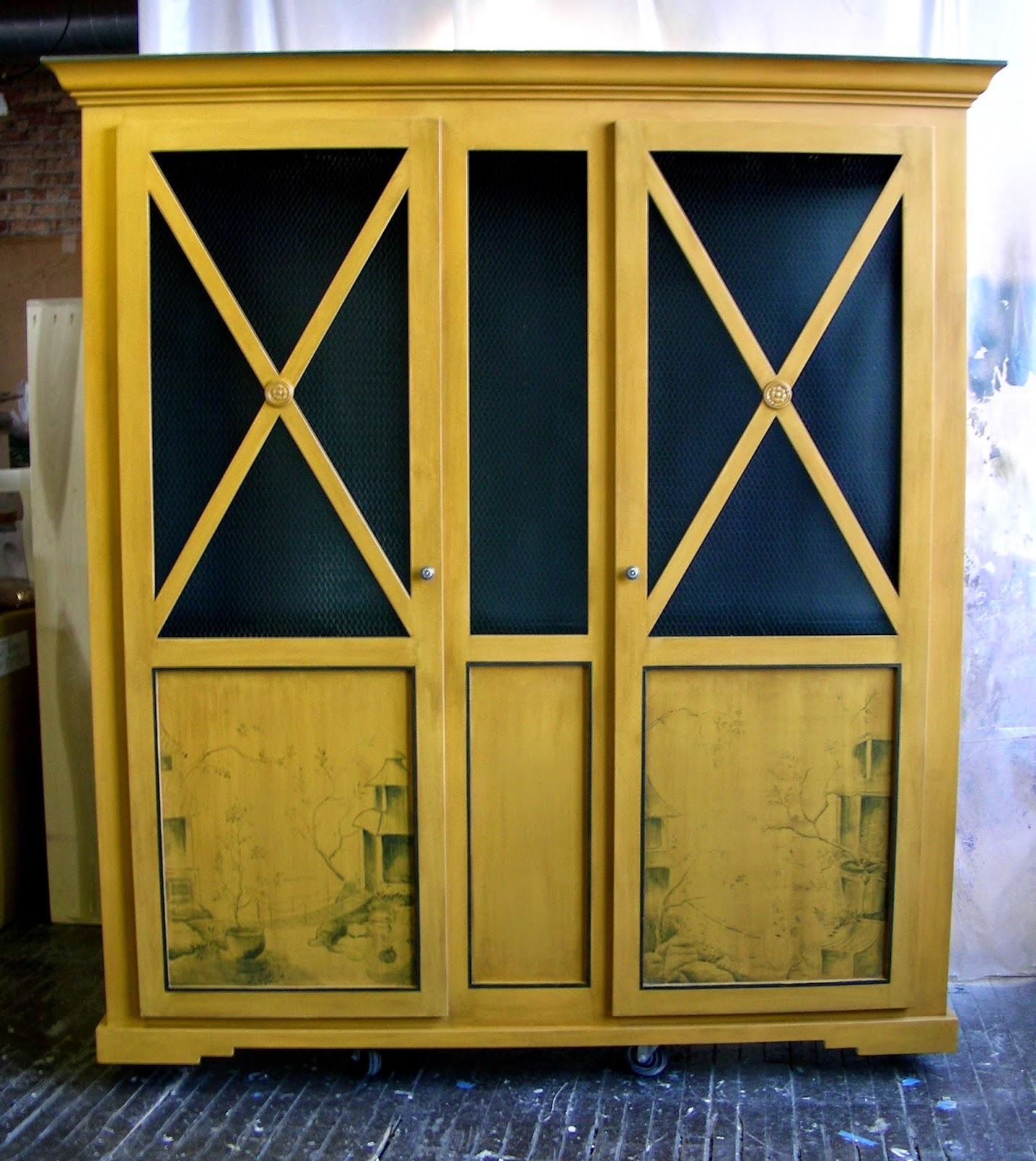 Yellow Ochre China Cabinet With Chinoiserie Panels