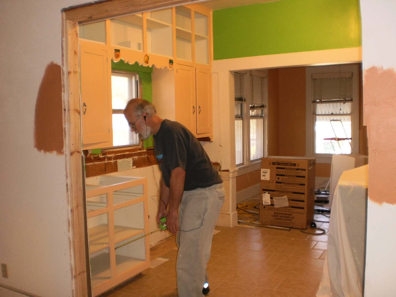 This photo shows the lefthand side of the kitchen with the new (small