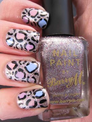 Silver-glitter-Barry-M-leopard-print-nail-art