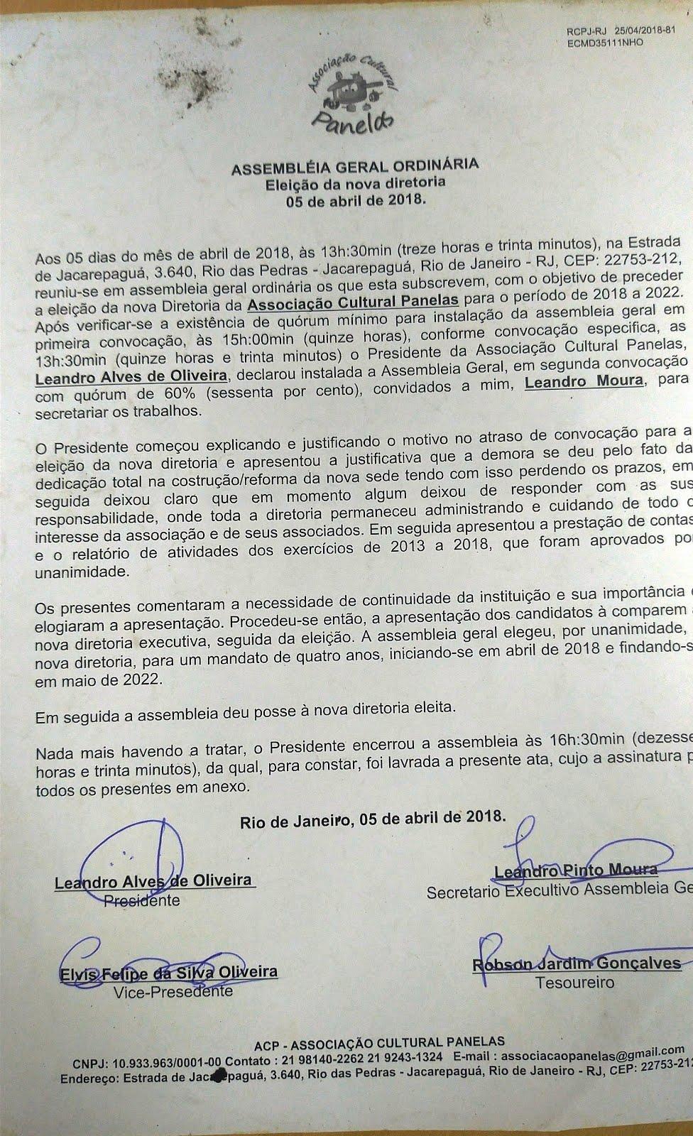 ATA DIRETORIA 2018 / 2022