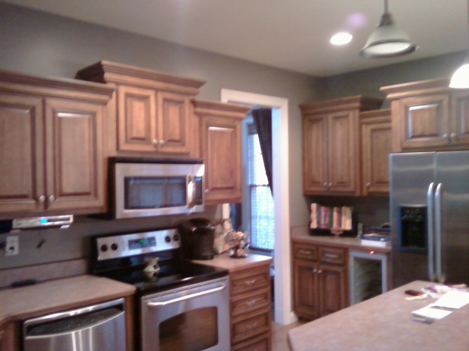 Dark kitchen cabinets with gray walls Kitchen designs with grey walls