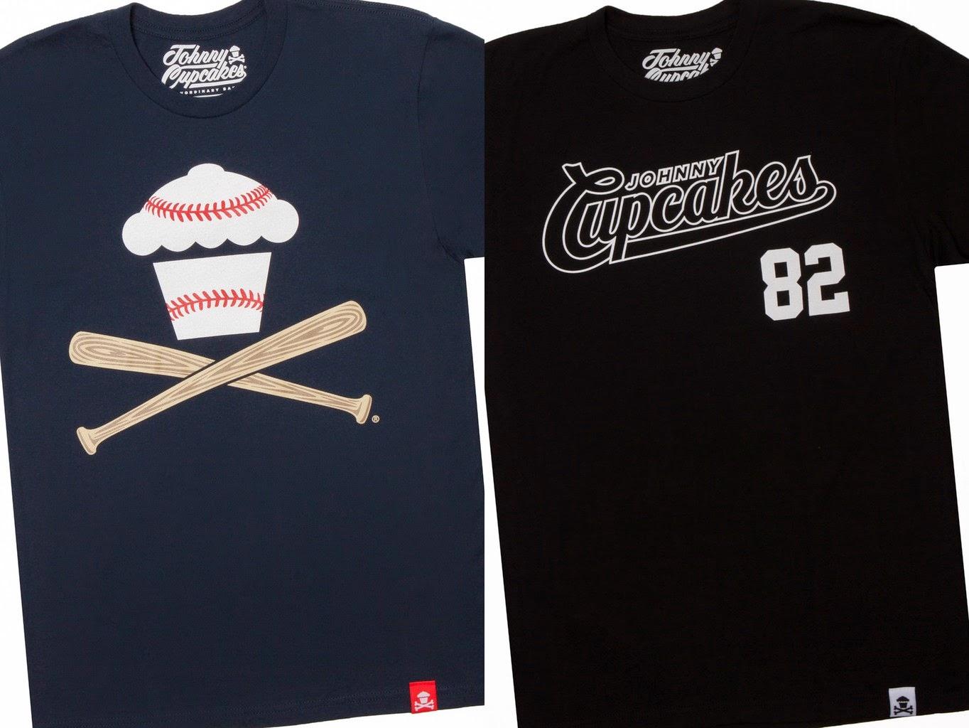 "Johnny Cupcakes 2015 Baseball T-Shirts - ""Script '82"" & Navy ""Baseball Crossbones"""