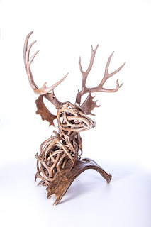 antler mule deer sculpture