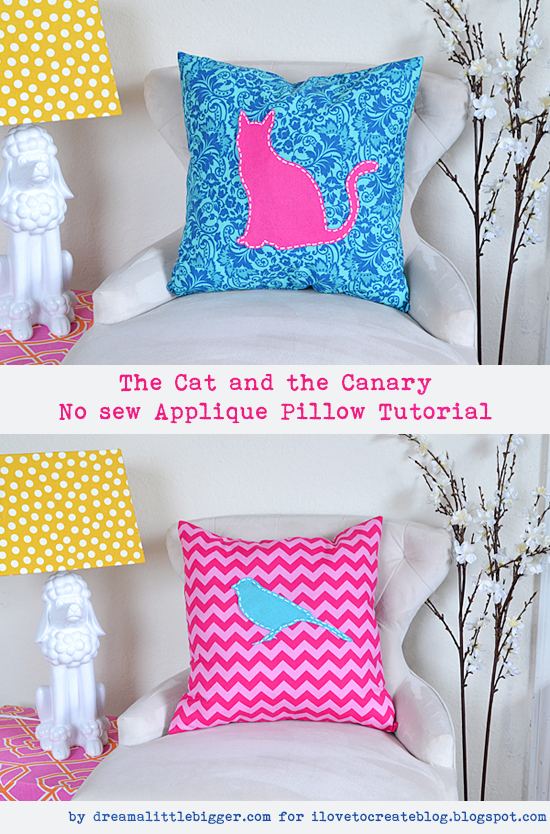 The Cat And The Canary No Sew Applique Pillow Tutorial