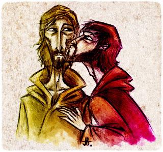 judas besando a jesus caricatura