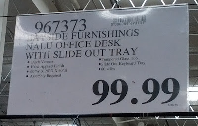 Deal for the Bayside Furnishings Nalu Office Computer Desk with Slide Out Tray at Costco