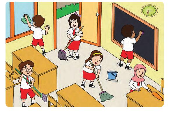 Gambar Kebersihan Kelas Gambar Anak Sd Membersihkan Di Rebanas Rebanas