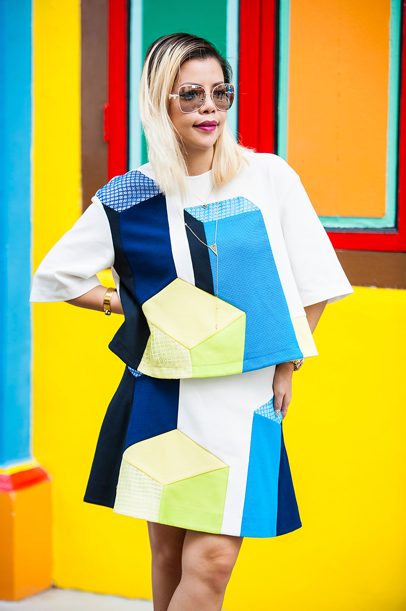 Crystal Phuong- Singapore Fashion Blog- Pretty in Lie Color Block Top and Skirt