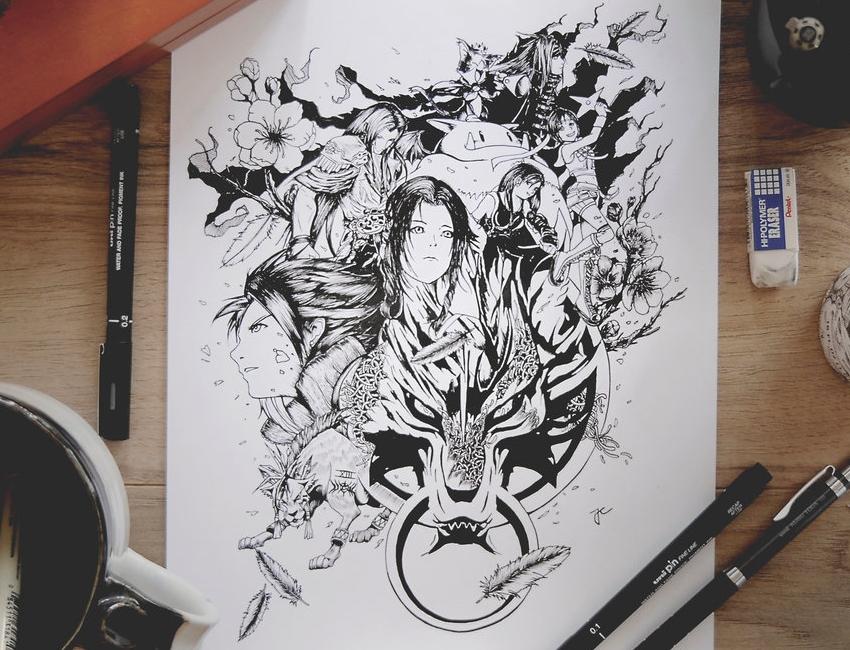 09-Final-Fantasy-VII-Joseph-Catimbang-Pentasticarts-Metaphysical-and-Surreal-Doodle-Drawings-www-designstack-co