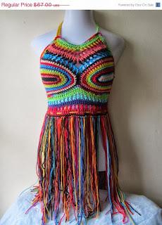 rainbow crochet fringe festival halter top by ElegantCrochets