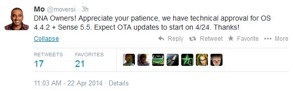 HTC Droid DNA dapat update Android 4.4.2 + Sense 5.5