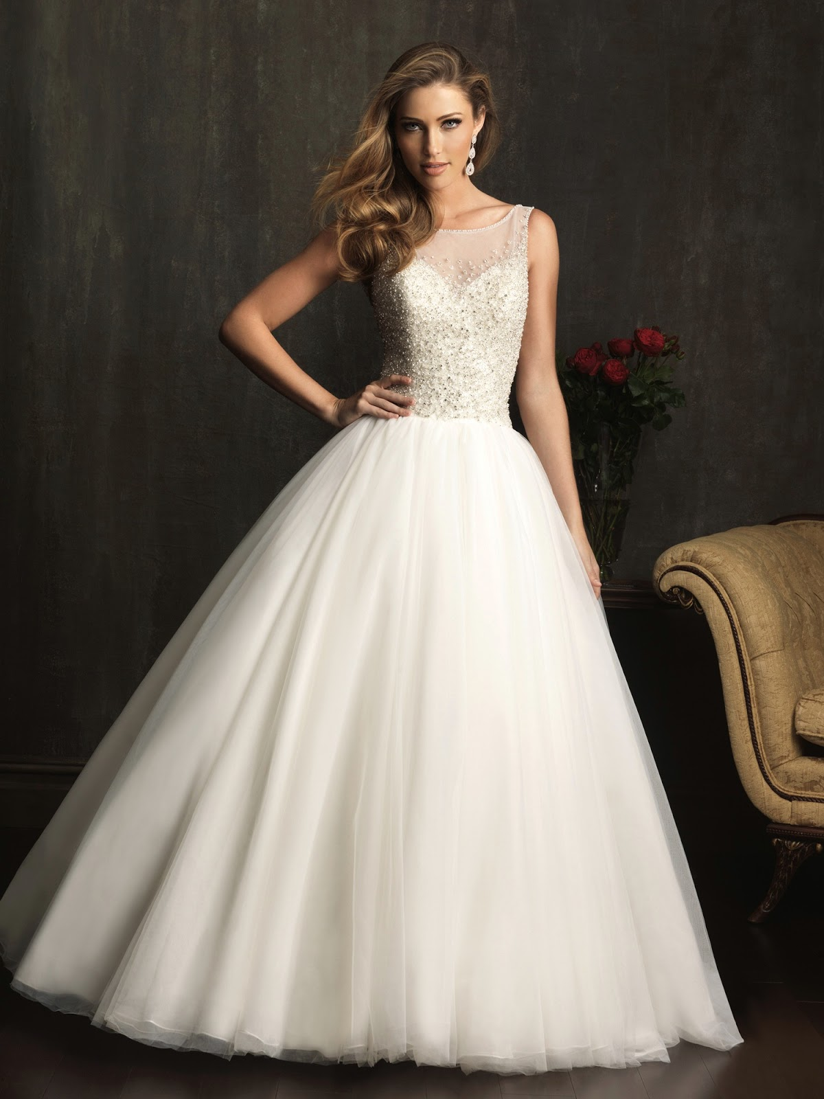 Dressybridal allure wedding dresses fall 2013 collection for Wedding dress with illusion top
